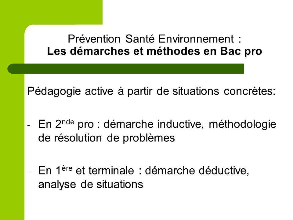 Prévention Santé Environnement : Les démarches et méthodes en Bac pro Pédagogie active à partir de situations concrètes: - En 2 nde pro : démarche ind