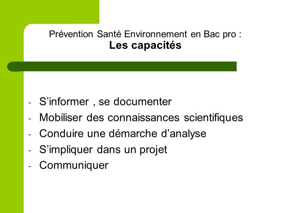 Prévention Santé Environnement en Bac pro : Les capacités - Sinformer, se documenter - Mobiliser des connaissances scientifiques - Conduire une démarc