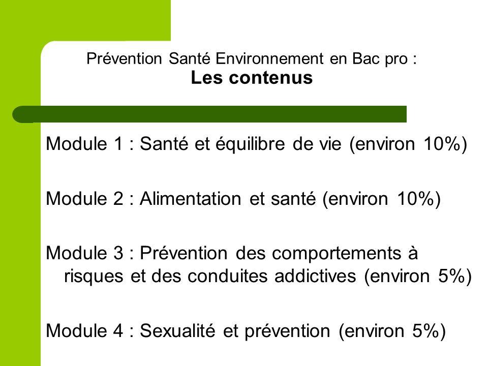 Prévention Santé Environnement en Bac pro : Les contenus Module 1 : Santé et équilibre de vie (environ 10%) Module 2 : Alimentation et santé (environ 10%) Module 3 : Prévention des comportements à risques et des conduites addictives (environ 5%) Module 4 : Sexualité et prévention (environ 5%)