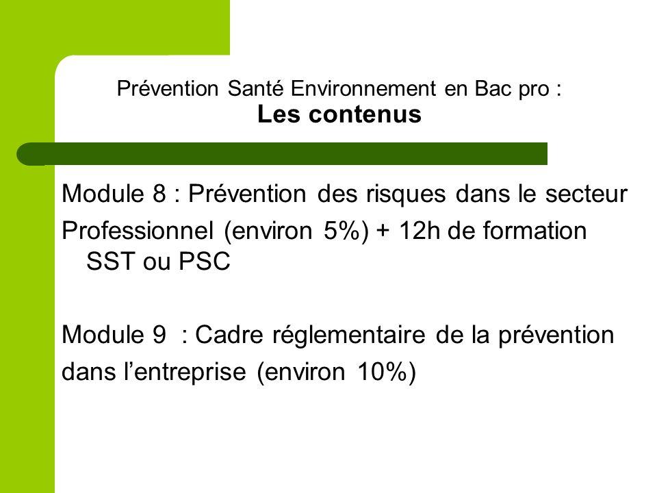 Prévention Santé Environnement en Bac pro : Les contenus Module 8 : Prévention des risques dans le secteur Professionnel (environ 5%) + 12h de formation SST ou PSC Module 9 : Cadre réglementaire de la prévention dans lentreprise (environ 10%)
