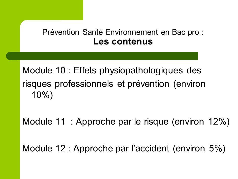 Prévention Santé Environnement en Bac pro : Les contenus Module 10 : Effets physiopathologiques des risques professionnels et prévention (environ 10%)