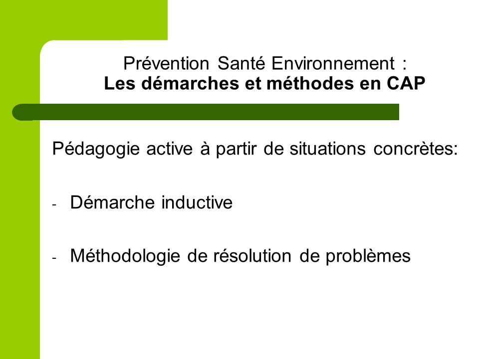 Prévention Santé Environnement : Les démarches et méthodes en CAP Pédagogie active à partir de situations concrètes: - Démarche inductive - Méthodolog