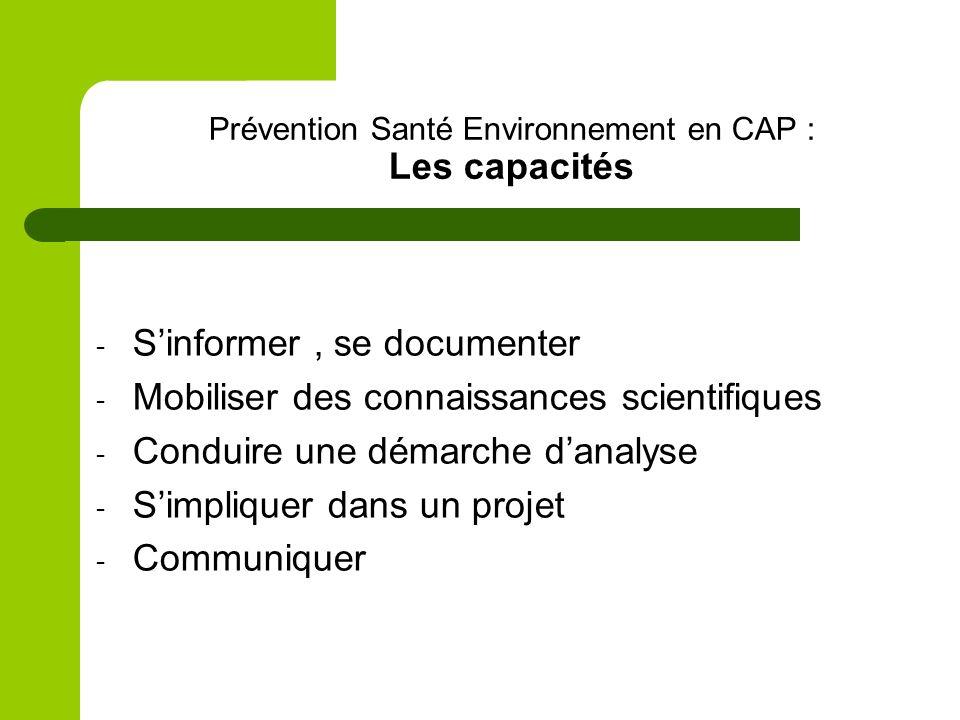 Prévention Santé Environnement en CAP : Les capacités - Sinformer, se documenter - Mobiliser des connaissances scientifiques - Conduire une démarche d