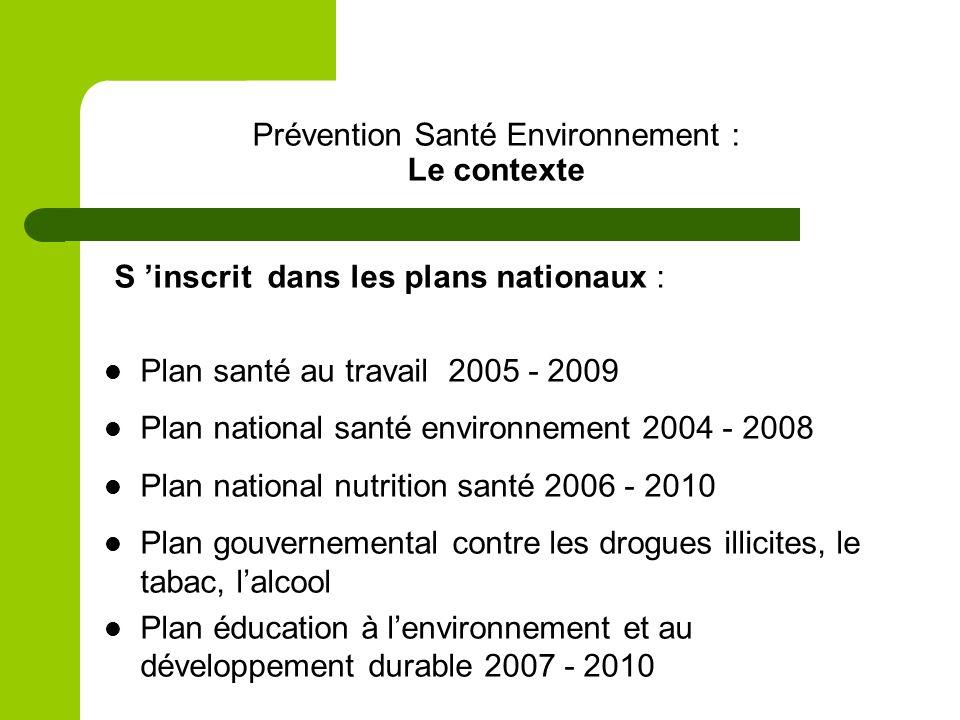 Prévention Santé Environnement : Le contexte S inscrit dans les plans nationaux : Plan santé au travail 2005 - 2009 Plan national santé environnement