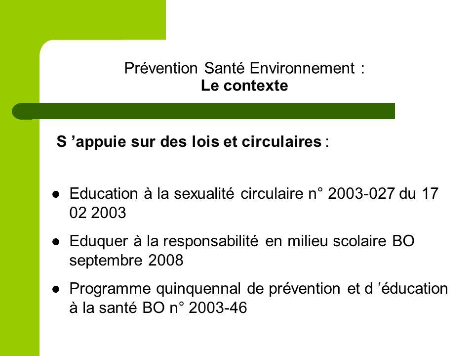 Prévention Santé Environnement : Le contexte S appuie sur des lois et circulaires : Education à la sexualité circulaire n° 2003-027 du 17 02 2003 Eduquer à la responsabilité en milieu scolaire BO septembre 2008 Programme quinquennal de prévention et d éducation à la santé BO n° 2003-46