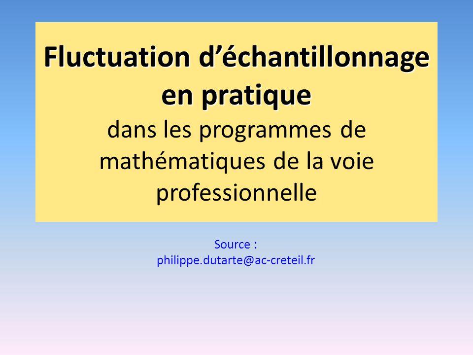 Fluctuation déchantillonnage en pratique Fluctuation déchantillonnage en pratique dans les programmes de mathématiques de la voie professionnelle Sour
