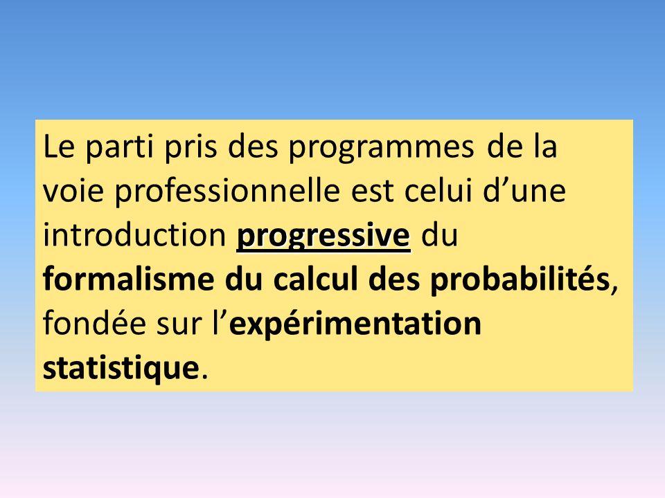 progressive Le parti pris des programmes de la voie professionnelle est celui dune introduction progressive du formalisme du calcul des probabilités,