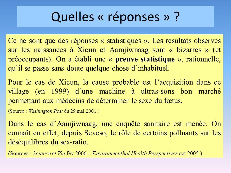 Quelles « réponses » ? preuve statistique Ce ne sont que des réponses « statistiques ». Les résultats observés sur les naissances à Xicun et Aamjiwnaa