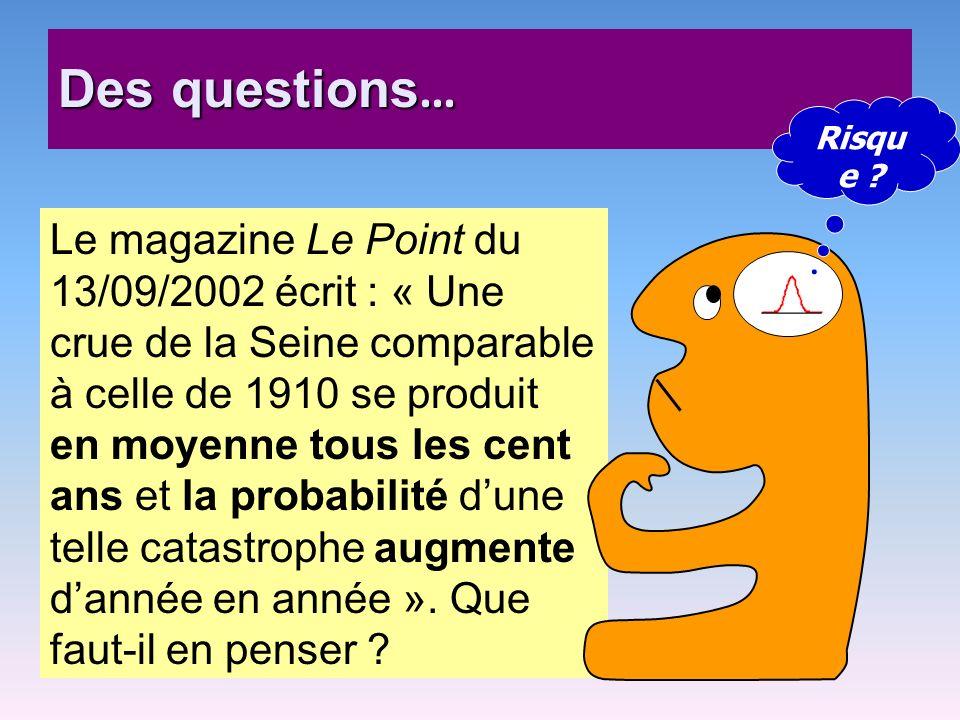 Des questions … Le magazine Le Point du 13/09/2002 écrit : « Une crue de la Seine comparable à celle de 1910 se produit en moyenne tous les cent ans e