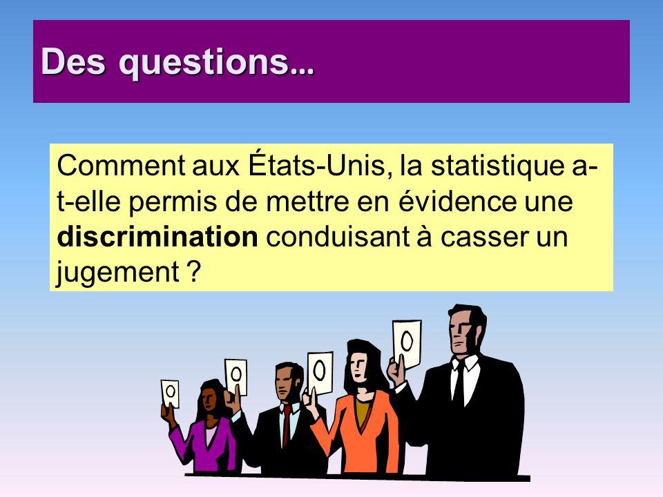 Des questions … Comment aux États-Unis, la statistique a- t-elle permis de mettre en évidence une discrimination conduisant à casser un jugement ?