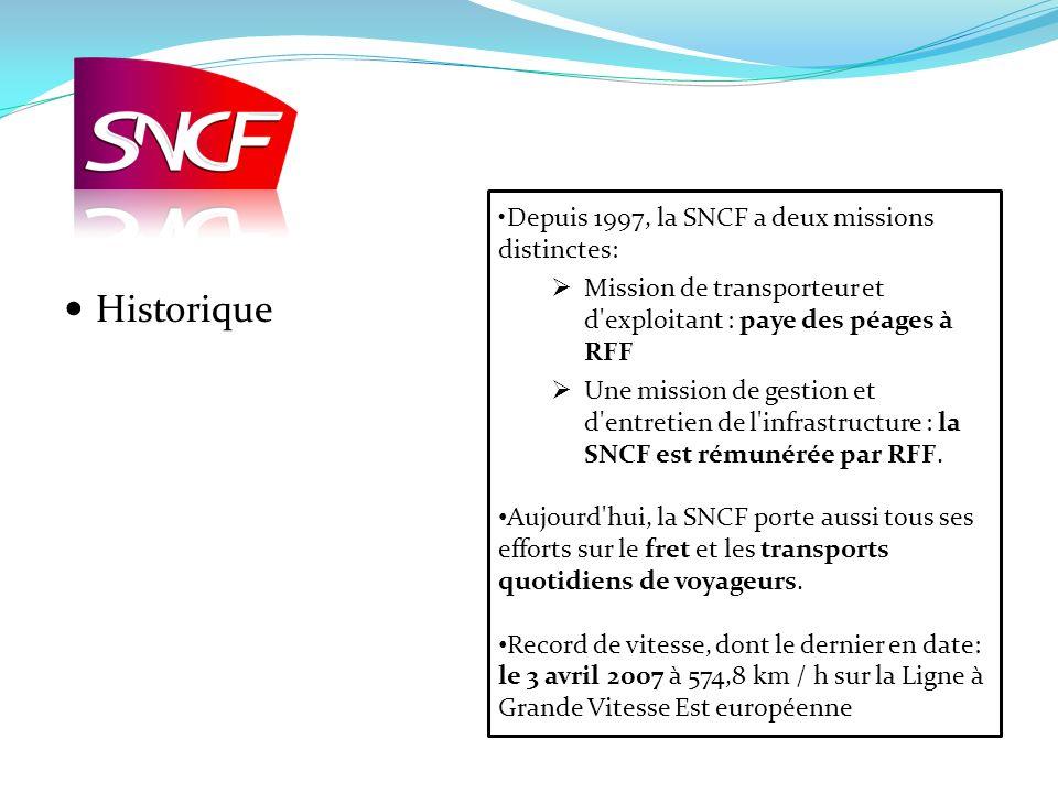 Depuis 1997, la SNCF a deux missions distinctes: Mission de transporteur et d'exploitant : paye des péages à RFF Une mission de gestion et d'entretien
