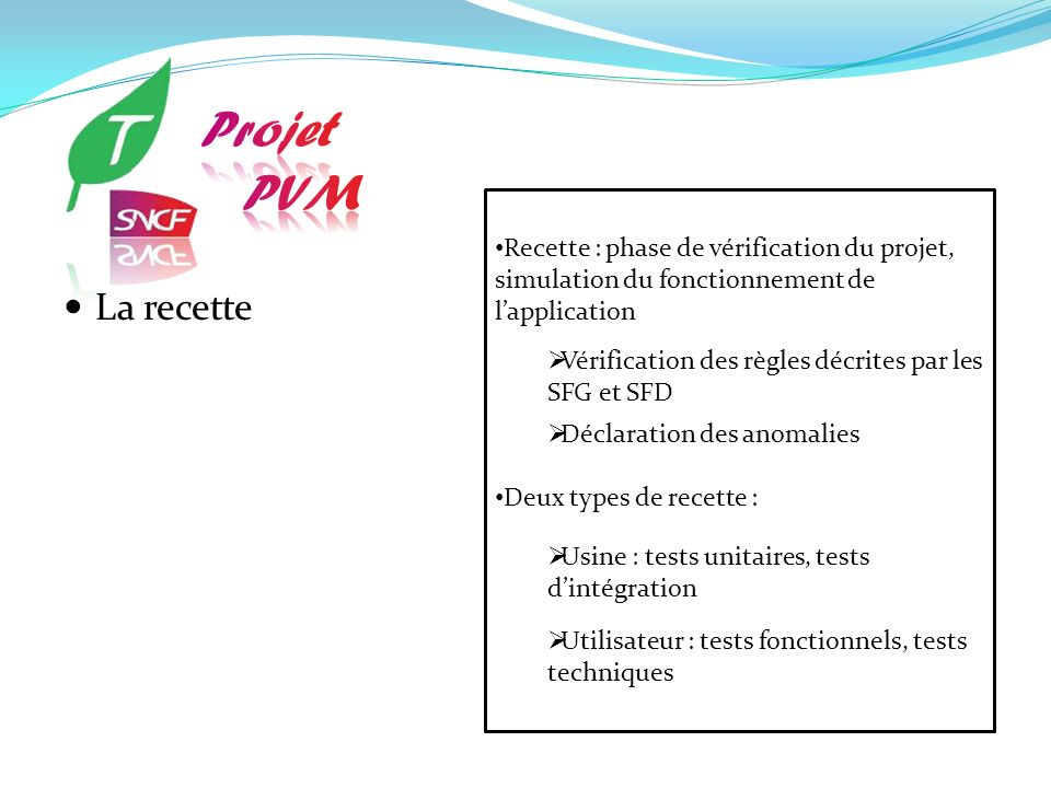 Recette : phase de vérification du projet, simulation du fonctionnement de lapplication Vérification des règles décrites par les SFG et SFD Déclaratio