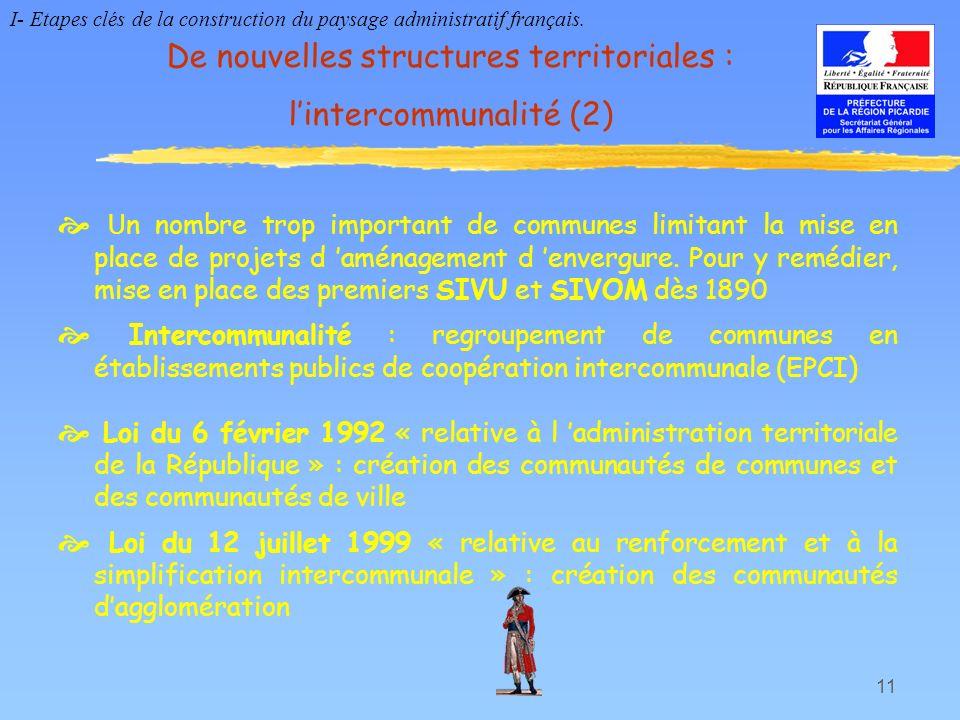 11 De nouvelles structures territoriales : lintercommunalité (2) U n nombre trop important de communes limitant la mise en place de projets d aménagem