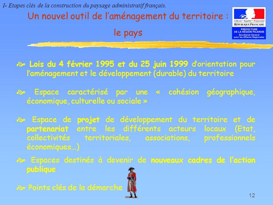 12 Un nouvel outil de laménagement du territoire : le pays Lois du 4 février 1995 et du 25 juin 1999 dorientation pour laménagement et le développemen