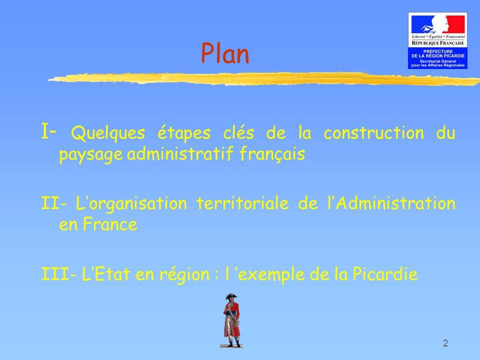 2 Plan I- Quelques étapes clés de la construction du paysage administratif français II- Lorganisation territoriale de lAdministration en France III- L