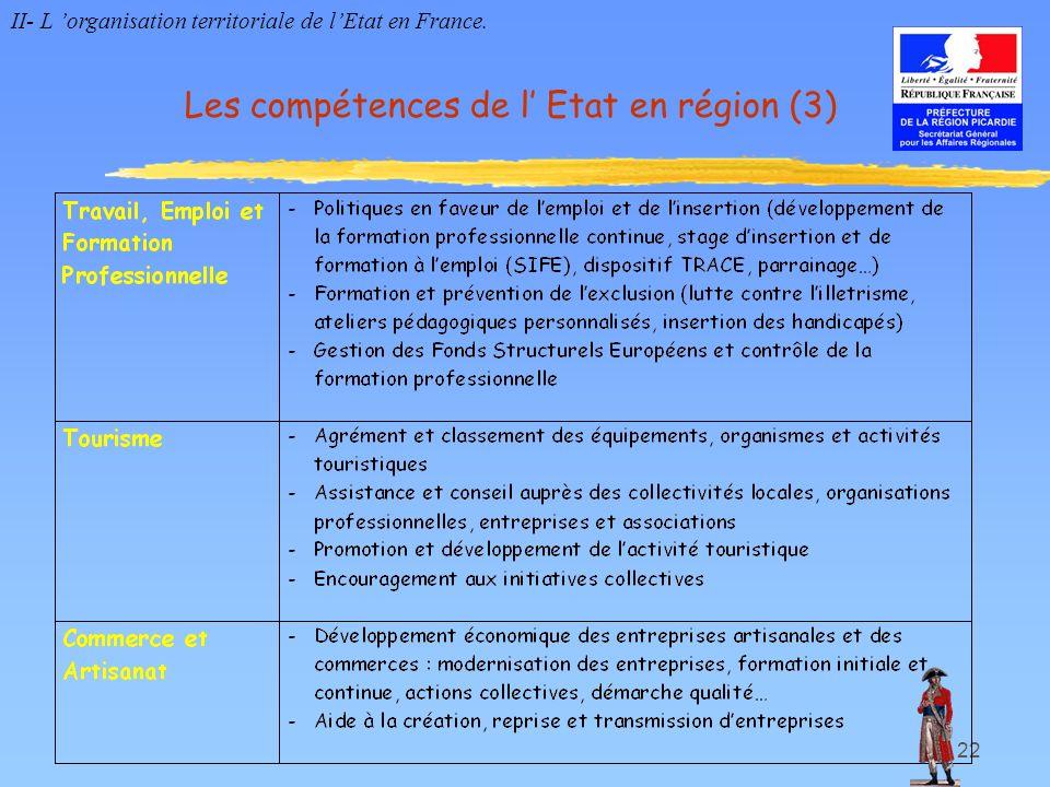 22 Les compétences de l Etat en région (3) II- L organisation territoriale de lEtat en France.