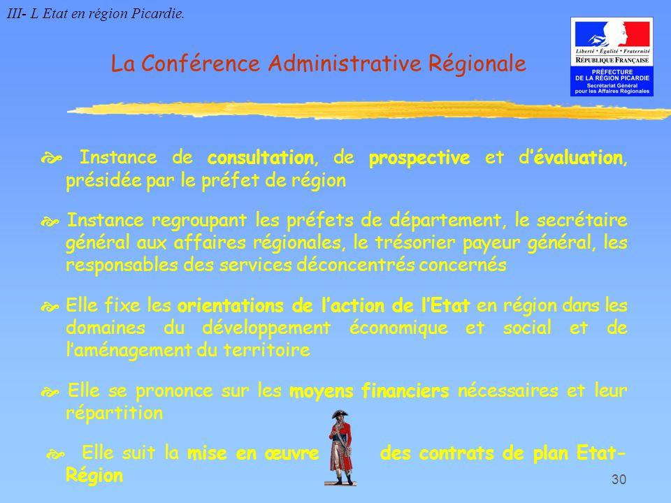 30 Instance de consultation, de prospective et dévaluation, présidée par le préfet de région Instance regroupant les préfets de département, le secrét