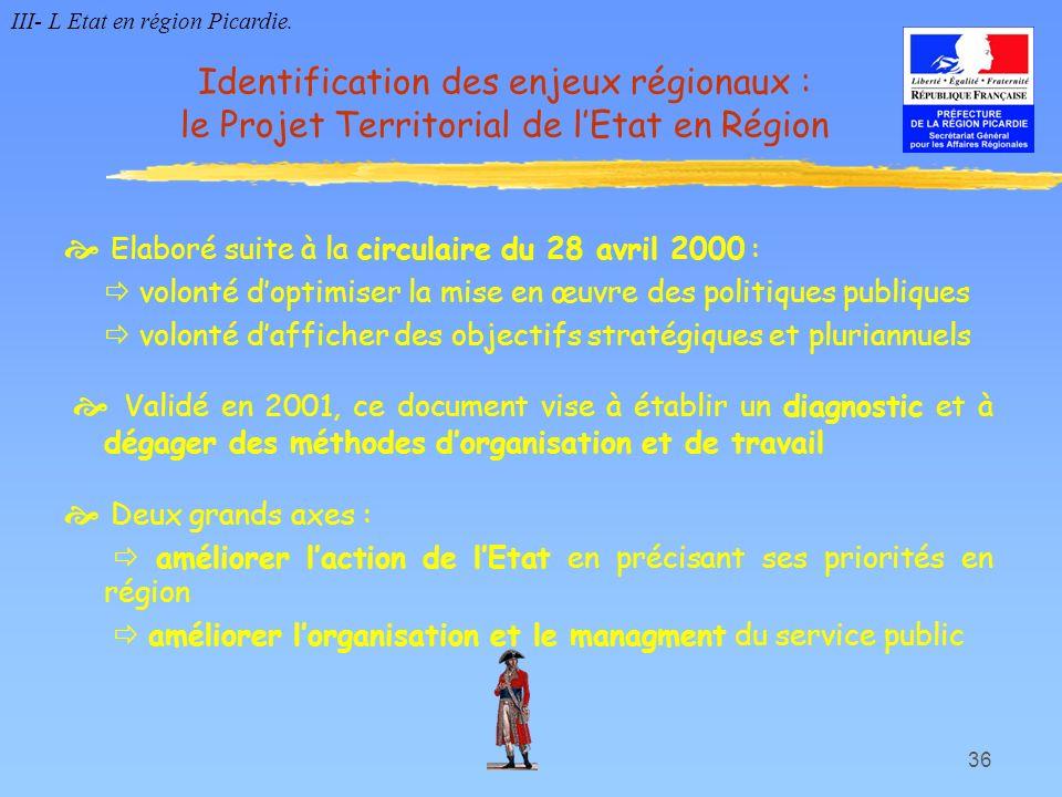 36 Elaboré suite à la circulaire du 28 avril 2000 : volonté doptimiser la mise en œuvre des politiques publiques volonté dafficher des objectifs strat