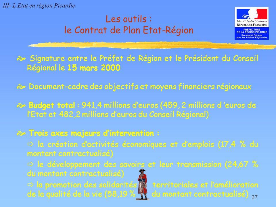 37 Les outils : le Contrat de Plan Etat-Région Signature entre le Préfet de Région et le Président du Conseil Régional le 15 mars 2000 Document-cadre