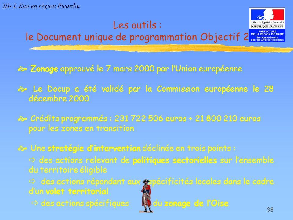 38 Zonage approuvé le 7 mars 2000 par lUnion européenne Le Docup a été validé par la Commission européenne le 28 décembre 2000 Crédits programmés : 23