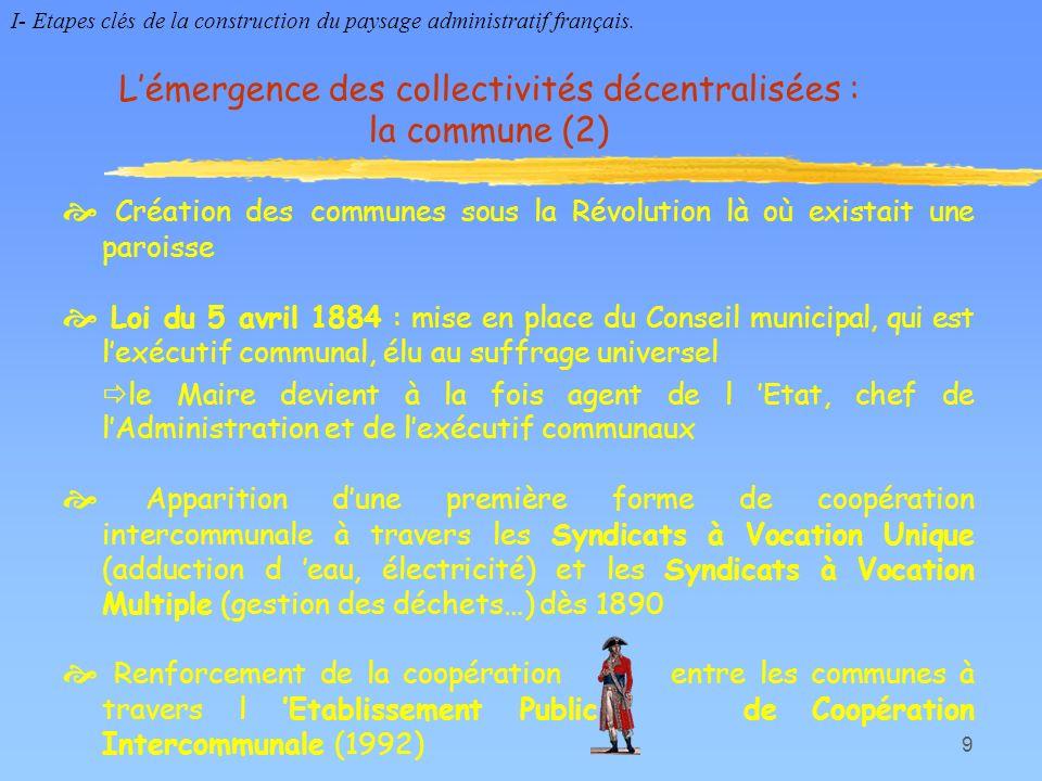 10 De nouvelles structures territoriales : la région (1) Début des années 1960 : création des régions de programmes puis des circonscriptions dactions régionales cadre de mise en place des politiques de planification économique et daménagement du territoire géré par le Préfet de Région La loi du 5 juillet 1972 confère le statut détablissement public aux régions Loi du 2 mars 1982 « relative aux droits des libertés des communes, des départements et régions » Loi du 6 janvier 1986 « relative à lorganisation des régions » I- Etapes clés de la construction du paysage administratif français.