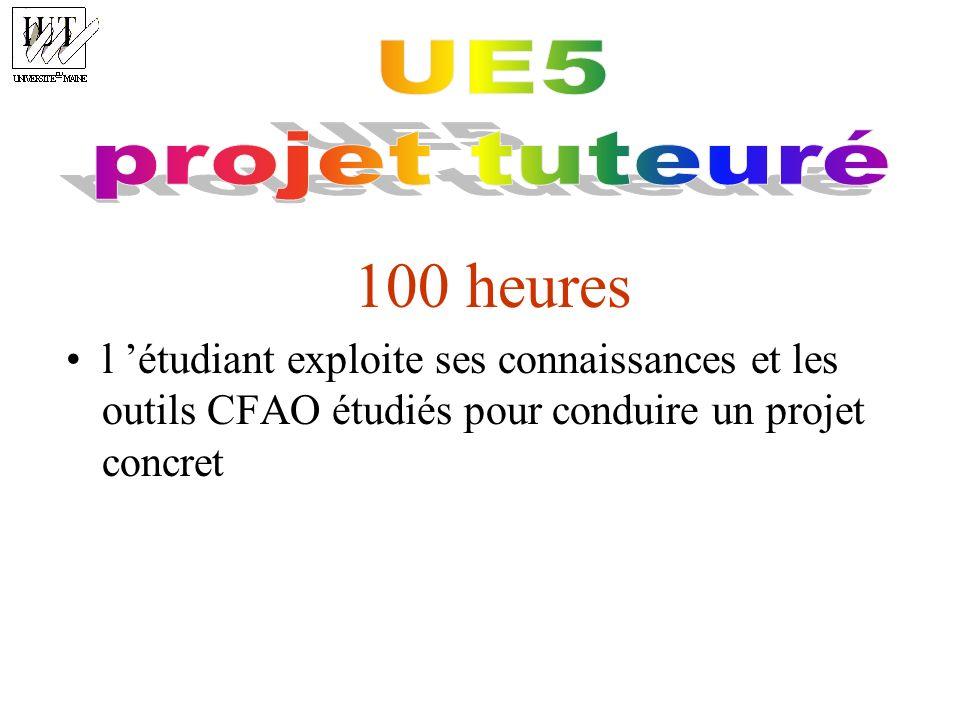 100 heures l étudiant exploite ses connaissances et les outils CFAO étudiés pour conduire un projet concret