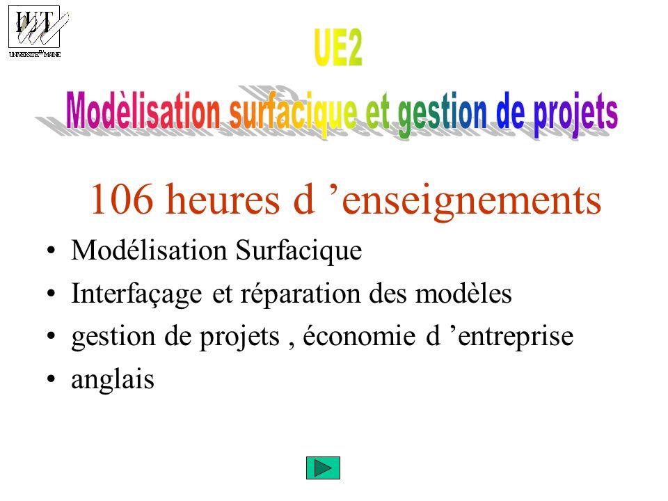 106 heures d enseignements Modélisation Surfacique Interfaçage et réparation des modèles gestion de projets, économie d entreprise anglais