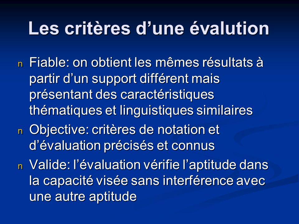 Les critères dune évalution Fiable: on obtient les mêmes résultats à partir dun support différent mais présentant des caractéristiques thématiques et