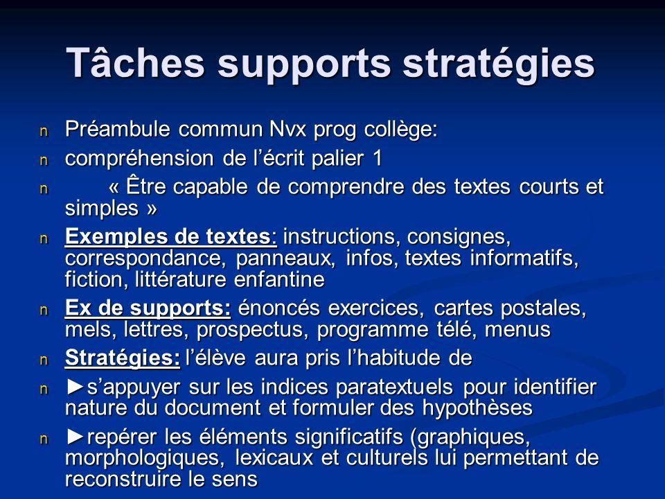 Tâches supports stratégies Préambule commun Nvx prog collège: Préambule commun Nvx prog collège: compréhension de lécrit palier 1 compréhension de léc