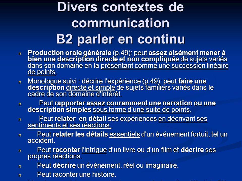 Divers contextes de communication B2 parler en continu Production orale générale (p.49): peut assez aisément mener à bien une description directe et n