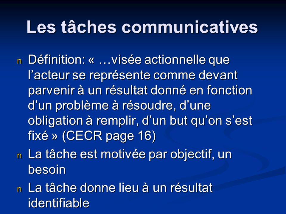 Les tâches communicatives Définition: « …visée actionnelle que lacteur se représente comme devant parvenir à un résultat donné en fonction dun problèm