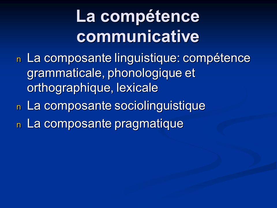 La compétence communicative La composante linguistique: compétence grammaticale, phonologique et orthographique, lexicale La composante linguistique:
