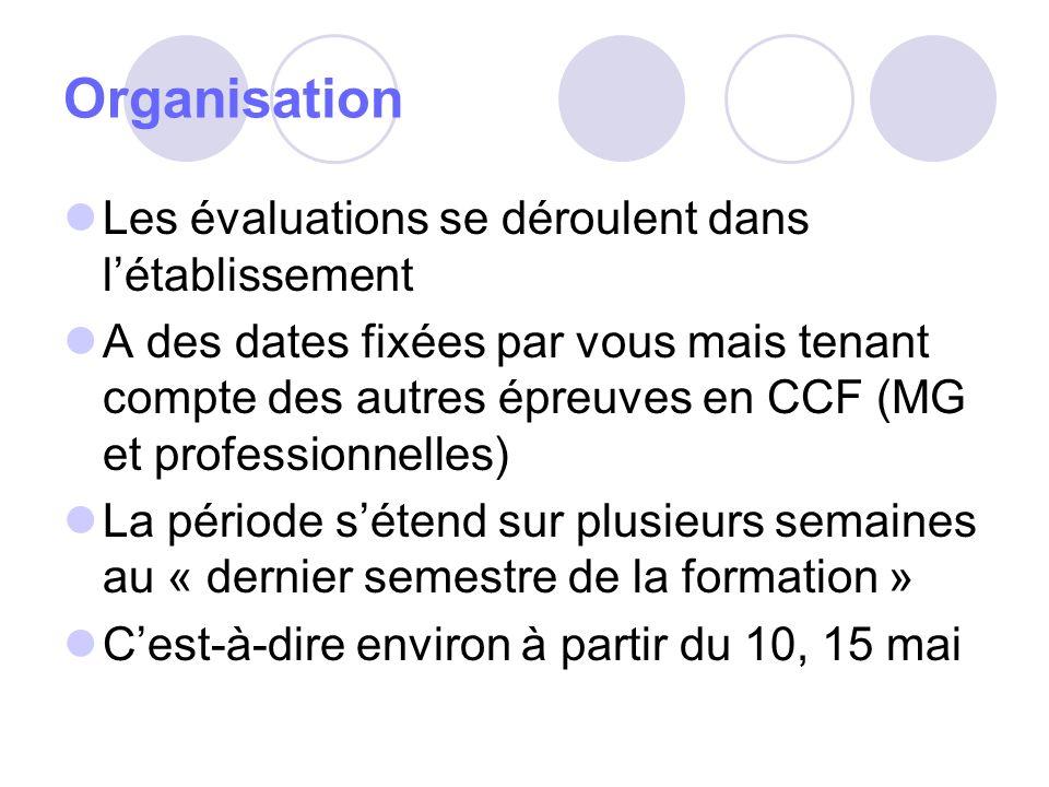 Organisation Les évaluations se déroulent dans létablissement A des dates fixées par vous mais tenant compte des autres épreuves en CCF (MG et profess