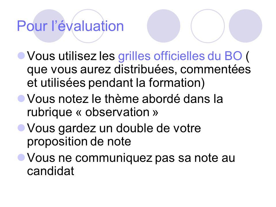 Pour lévaluation Vous utilisez les grilles officielles du BO ( que vous aurez distribuées, commentées et utilisées pendant la formation) Vous notez le