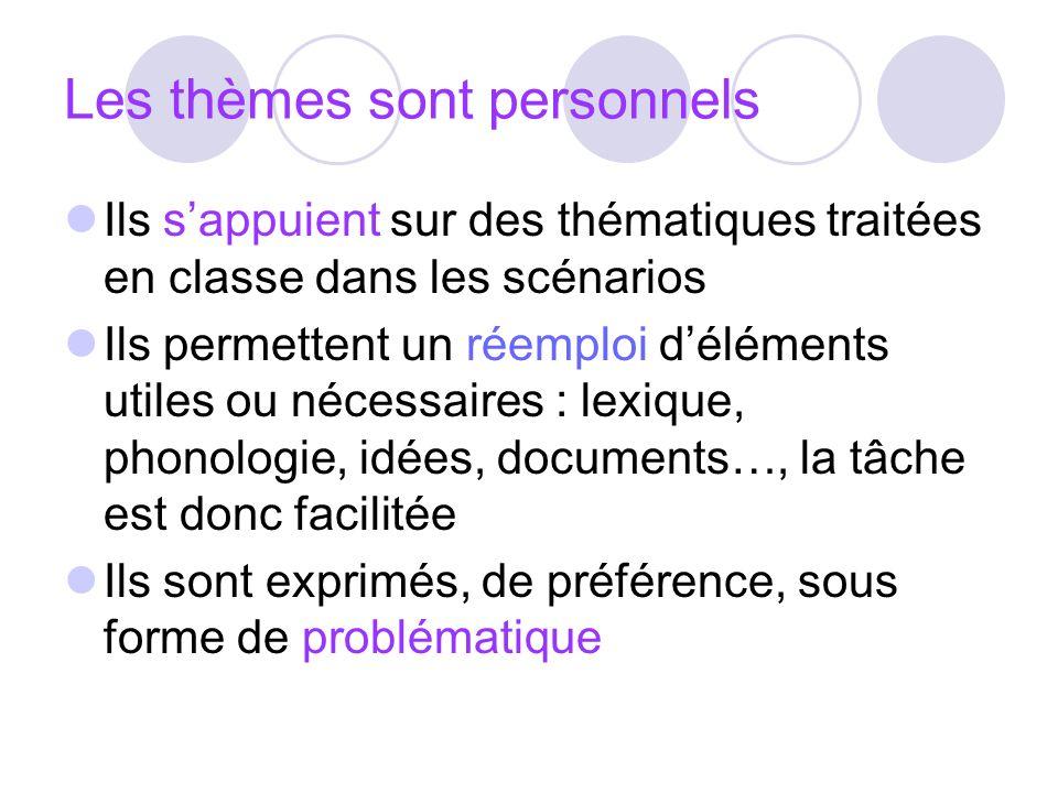 Les thèmes sont personnels Ils sappuient sur des thématiques traitées en classe dans les scénarios Ils permettent un réemploi déléments utiles ou néce