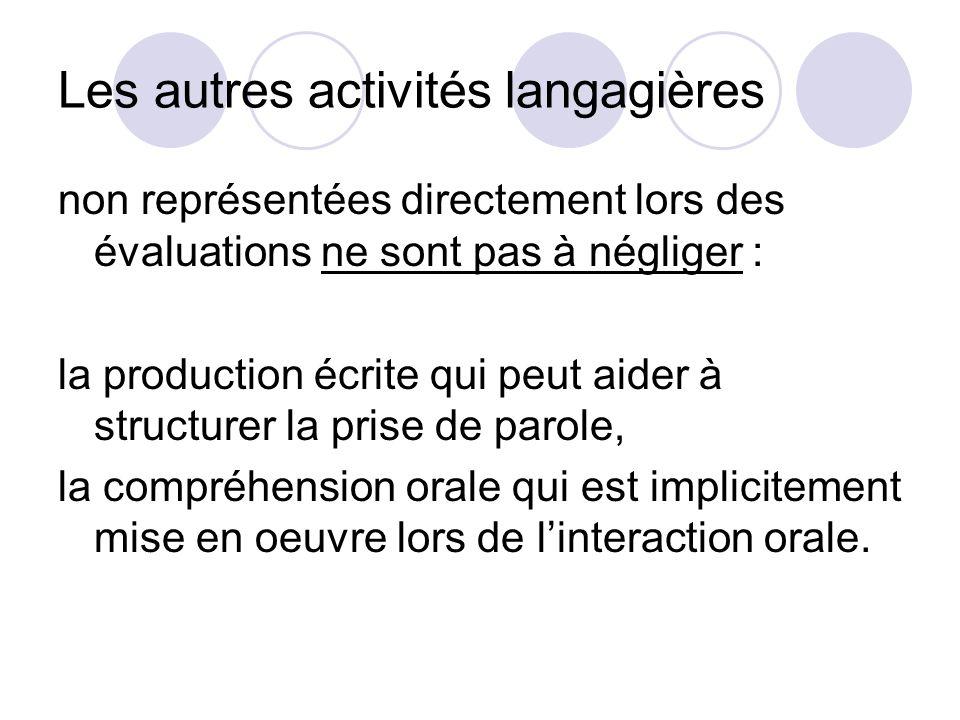 Les autres activités langagières non représentées directement lors des évaluations ne sont pas à négliger : la production écrite qui peut aider à stru