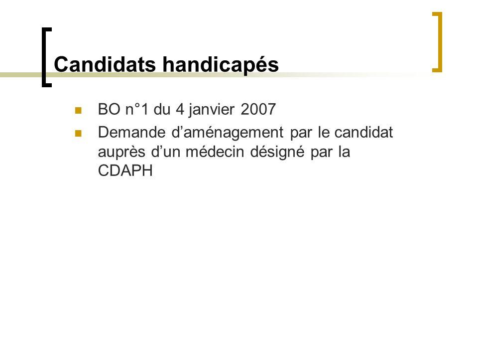 Candidats handicapés BO n°1 du 4 janvier 2007 Demande daménagement par le candidat auprès dun médecin désigné par la CDAPH