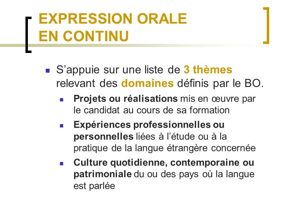 EXPRESSION ORALE EN CONTINU Sappuie sur une liste de 3 thèmes relevant des domaines définis par le BO.