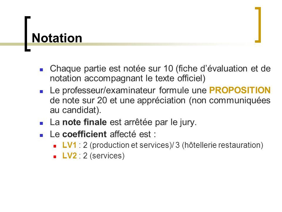 Notation Chaque partie est notée sur 10 (fiche dévaluation et de notation accompagnant le texte officiel) Le professeur/examinateur formule une PROPOSITION de note sur 20 et une appréciation (non communiquées au candidat).