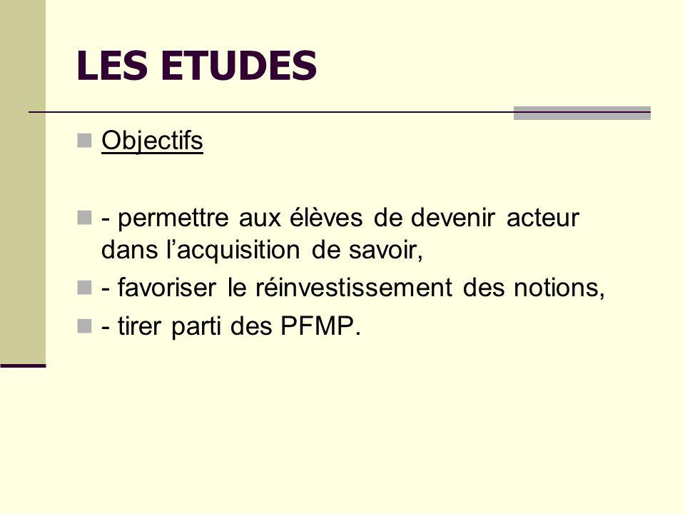 LES ETUDES Objectifs - permettre aux élèves de devenir acteur dans lacquisition de savoir, - favoriser le réinvestissement des notions, - tirer parti des PFMP.