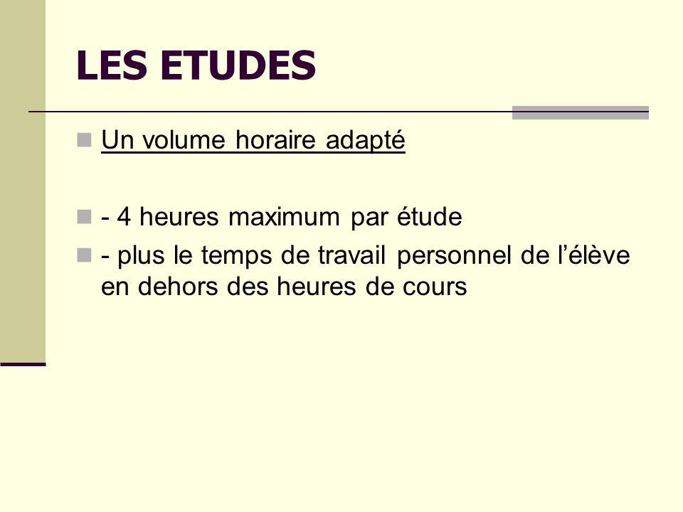 LES ETUDES Un volume horaire adapté - 4 heures maximum par étude - plus le temps de travail personnel de lélève en dehors des heures de cours