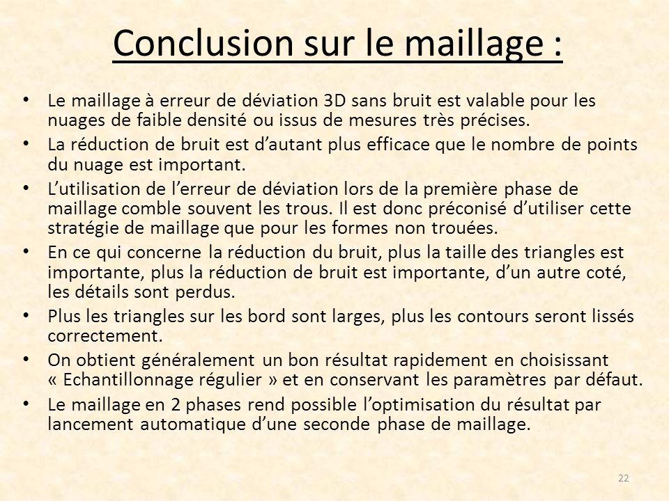 Conclusion sur le maillage : Le maillage à erreur de déviation 3D sans bruit est valable pour les nuages de faible densité ou issus de mesures très pr