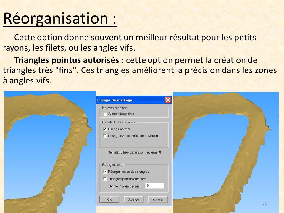 Réorganisation : Cette option donne souvent un meilleur résultat pour les petits rayons, les filets, ou les angles vifs. Triangles pointus autorisés :