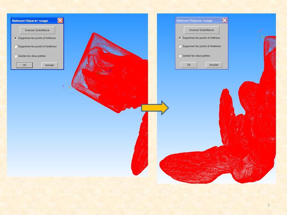 Option 3 : Maillage en deux étapes: 16 Le type de calcul est le même que pour loption 2: la seule différence réside dans le faite que la taille par défaut des triangles est deux fois plus grande et que lapplication lance automatiquement un second algorithme de calcul (annuler dans cette exemple) Exemple : grille = 6.234mm Conclusion Option 2 et 3 : Les zones plates sont moins perturbés avec des grands triangles: en effet, dans chaque élément de la grille projeté sur le modèle, il y a plus de points.
