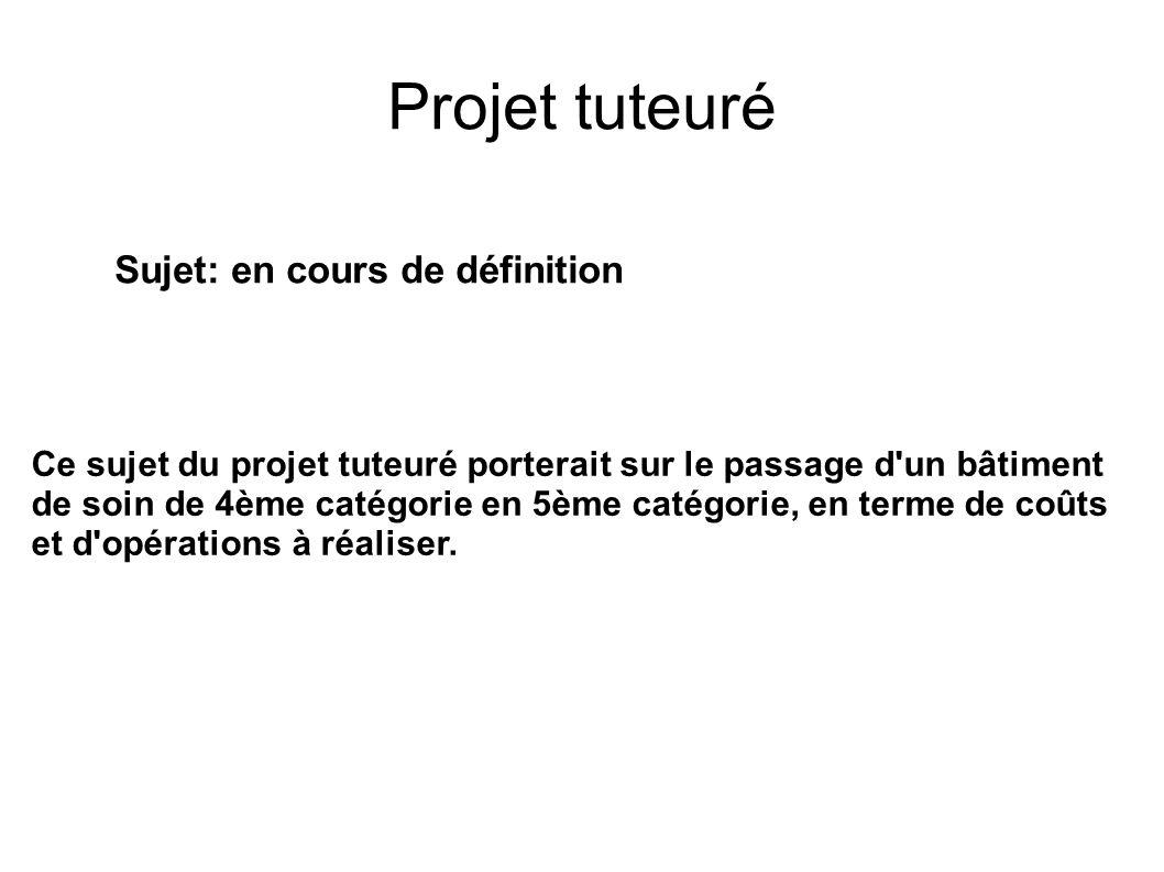 Projet tuteuré Sujet: en cours de définition Ce sujet du projet tuteuré porterait sur le passage d'un bâtiment de soin de 4ème catégorie en 5ème catég