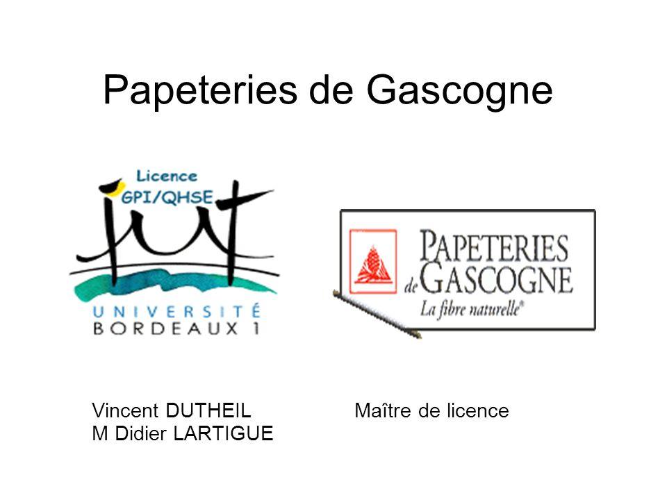 Papeteries de Gascogne Vincent DUTHEIL Maître de licence M Didier LARTIGUE
