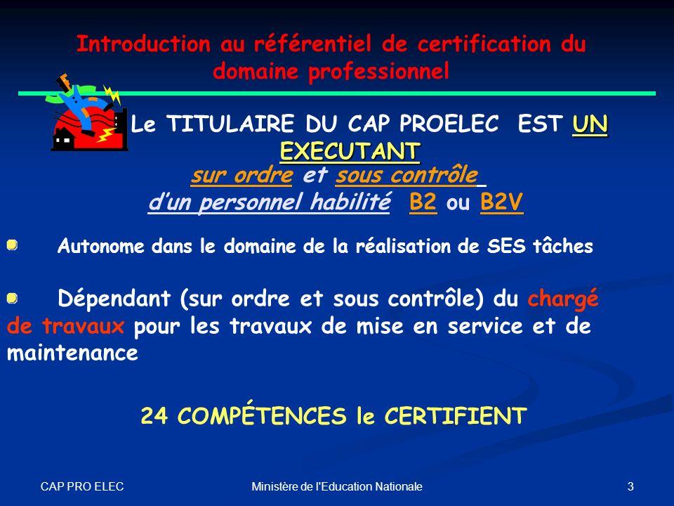 CAP PRO ELEC 2Ministère de l'Education Nationale Introduction au référentiel de certification du domaine professionnel LE CAP PROELEC Ce qui a changé