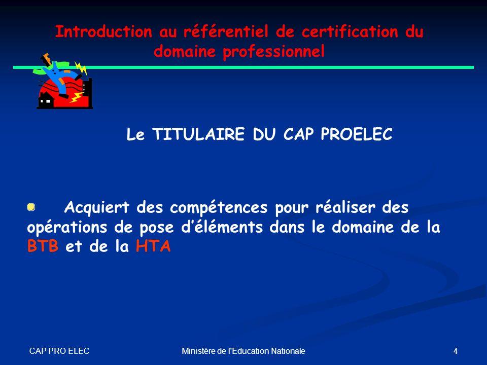 CAP PRO ELEC 3Ministère de l'Education Nationale Introduction au référentiel de certification du domaine professionnel UN EXECUTANT Le TITULAIRE DU CA