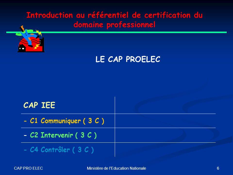CAP PRO ELEC 5Ministère de l'Education Nationale Introduction au référentiel de certification du domaine professionnel Le TITULAIRE DU CAP PROELEC 3 C