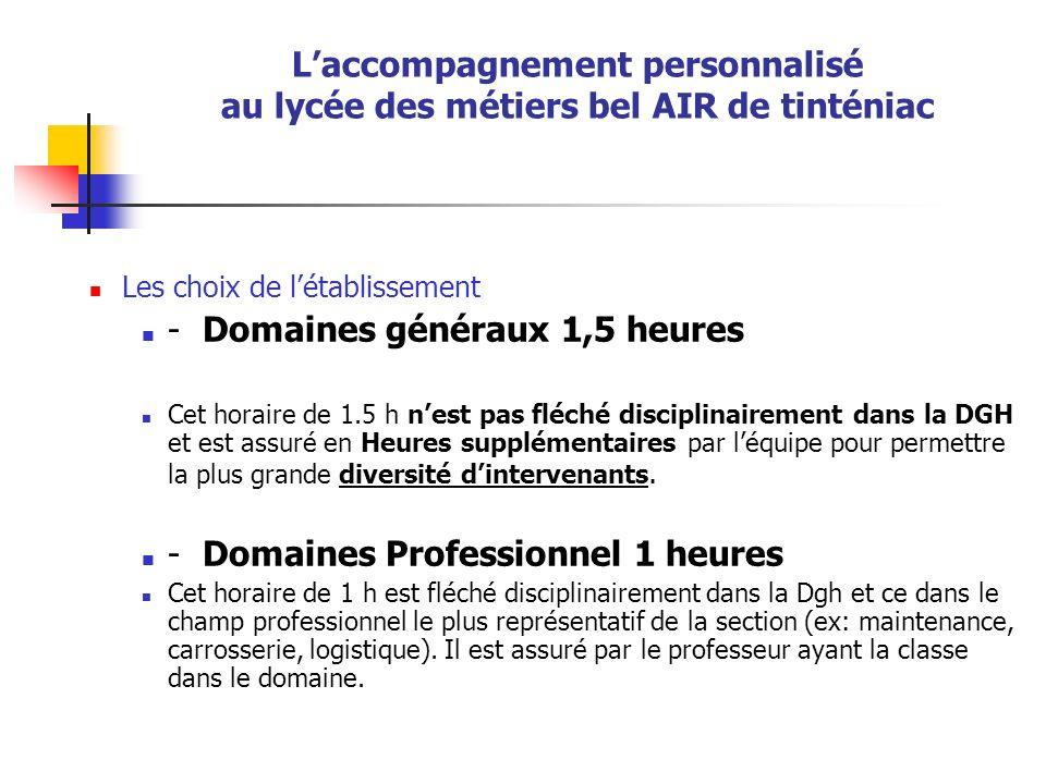 Laccompagnement personnalisé au lycée des métiers bel AIR de tinténiac Les choix de létablissement - Domaines généraux 1,5 heures Cet horaire de 1.5 h